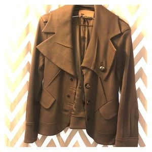 Knitted asymmetric blazer jacket chestnut brown